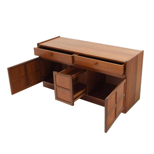 Teak Small Danish Modern Teak Credenza with Small File Cabinet For Sale - Image 7 of 8