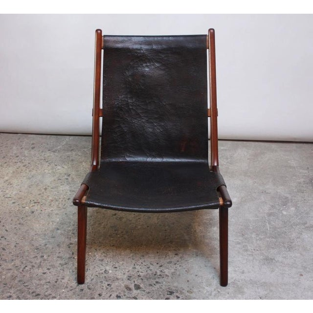 Swedish Teak and Leather Hunting Chair Model #204 by Uno and Östen Kristiansson - Image 4 of 11