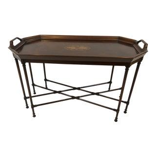 1980s Traditional Councill Refined Flame Mahogany Fixed Tray Designed Coffee Table For Sale