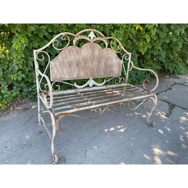 French Antique Wrought Iron Outdoor Folding Bench For Sale - Image 12 of 12