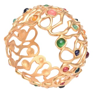 Gold Plated and Jewel Toned Stones Cuff Bracelet For Sale