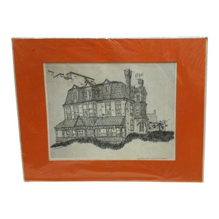 "Vintage Mid Century Titled ""Country House"" Matted Original Drawing by Nevin Robinson For Sale"