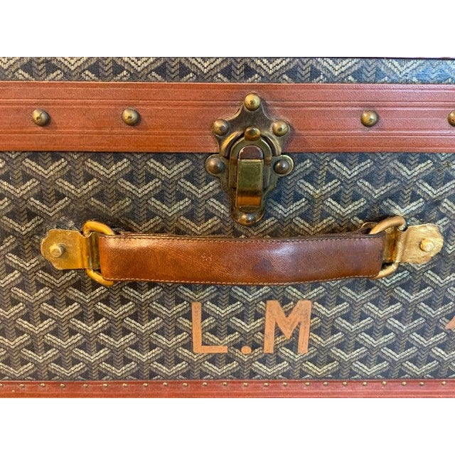 Vintage Goyard Hardcase Trunk on Iron Stand For Sale In Atlanta - Image 6 of 13