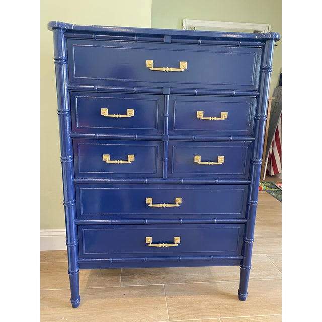 Palm Beach Chic Faux Bamboo Tall Dresser Lacquered in Navy Blue With Gold Handles For Sale - Image 11 of 11