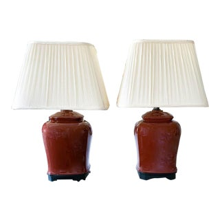Pair, Early Mid Century Frederick Cooper Asian Lamps For Sale