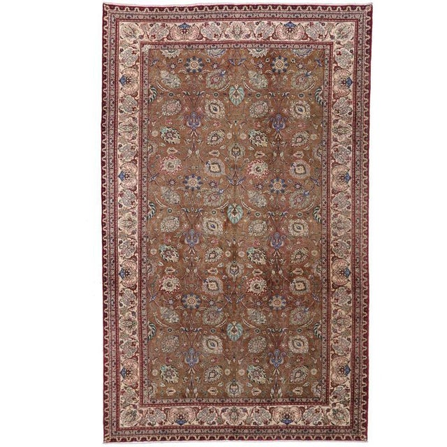 Textile Vintage Persian Tabriz Gallery Rug with Arabesque Art Nouveau Style For Sale - Image 7 of 7