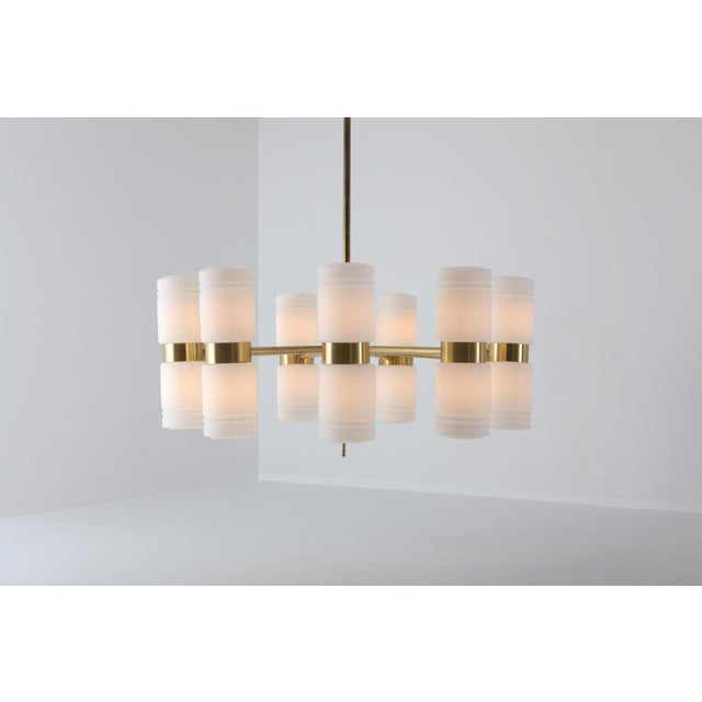 Contemporary Hans-Agne Jakobsson Brass and Milky Opaline Glass Chandelier For Sale - Image 3 of 10
