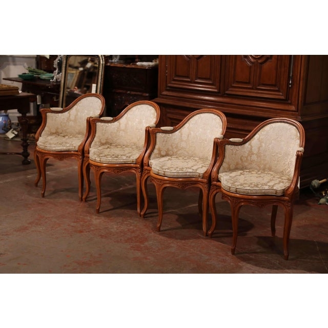 Set of Four Early 20th Century French Louis XV Carved Walnut Desk Armchairs For Sale - Image 9 of 12