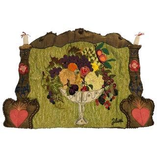 1970s Handmade Folk Art Fruit Still Life Tapestry For Sale