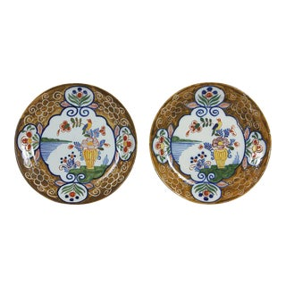 Pair of Delft Polychrome Decorated Plates For Sale