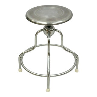 Late 20th Century Vintage Stainless Steel Adjustable Swivel Industrial Stool For Sale