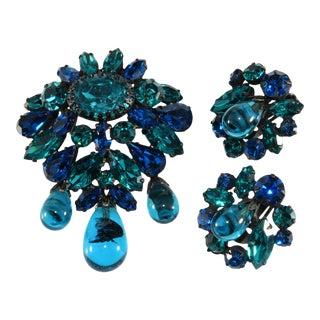 Regency Set Brooch Earrings Blue Rhinestones Dangles For Sale