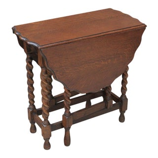 Antique English Arts & CraftsTiger Oak Barley Twist Drop Leaf Gate Leg End Table Sofa Table For Sale