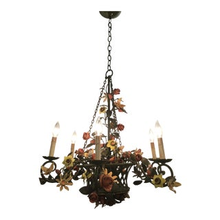 Antique French Belle Époque Tole and Iron With 22k Gilt Rope Edges 6 Light Chandelier For Sale