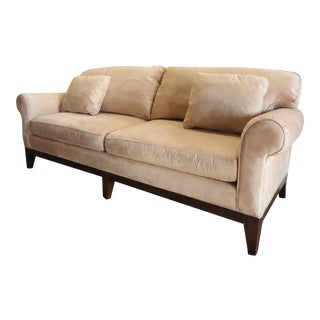 Contemporary Sherrill Furniture Sofa in Beige Suede For Sale