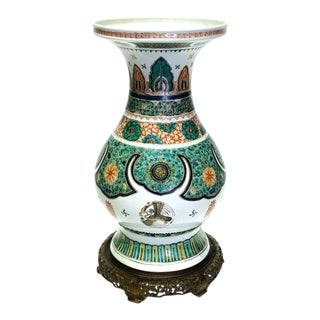 Auction: Antique 19th Century Chinese Famille Verte Kangxi Design Vase With Display Stand (Ming) For Sale