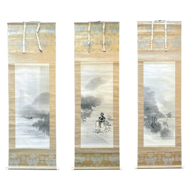 Triptych Scroll Paintings by Watanabe Seitei Meiji Period - Set of 3 For Sale - Image 13 of 13
