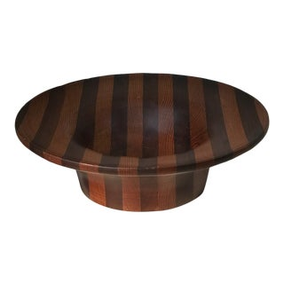 Mid 20th Century Striped Inlay Wood Bowl For Sale