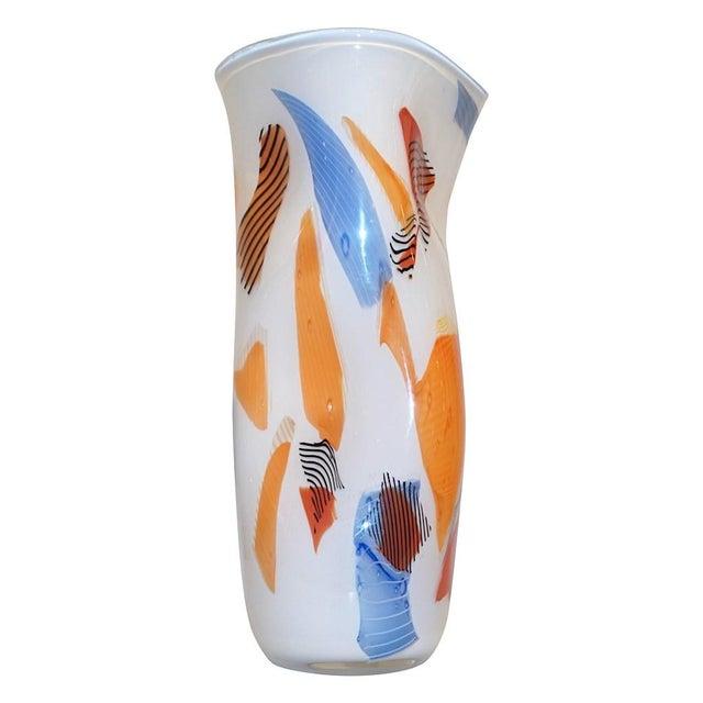 Davide Donà Italian Free-Form White Orange Red Blue Murano Art Glass Vase - in Showroom For Sale - Image 10 of 10