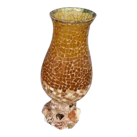 Large Glass Mosaic Vases With Shell Encrusted Base For Sale