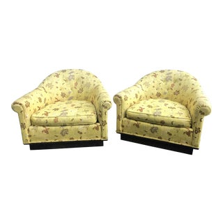 Mid Century Milo Baughman Style Lounge Chairs on Castors - a Pair For Sale