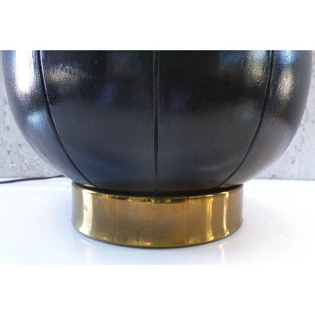 Elegant and Unusual 1940s Leather and Brass Table Lamp For Sale - Image 4 of 10