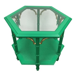 Green Faux Bamboo End Table For Sale