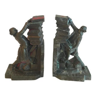 Vintage Bronze Figural Book Ends - a Pair For Sale