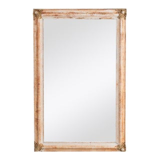 Antique French White and Gold Mirror For Sale