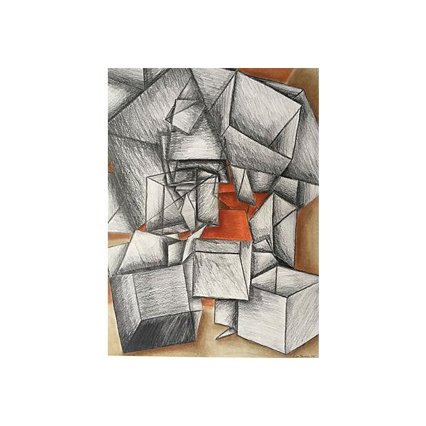 Cowen Modernist Cubist Abstract Drawing - Image 2 of 5