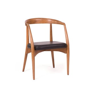 1960s Lawrence Peabody Oak Walnut and Leather Dining Chairs Preview