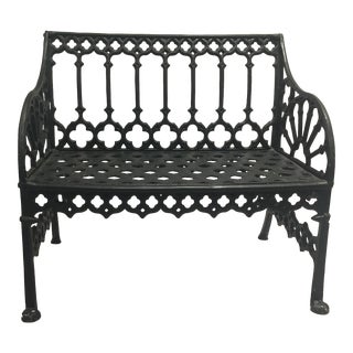 20th Century Regency Style Green Metal Garden Bench