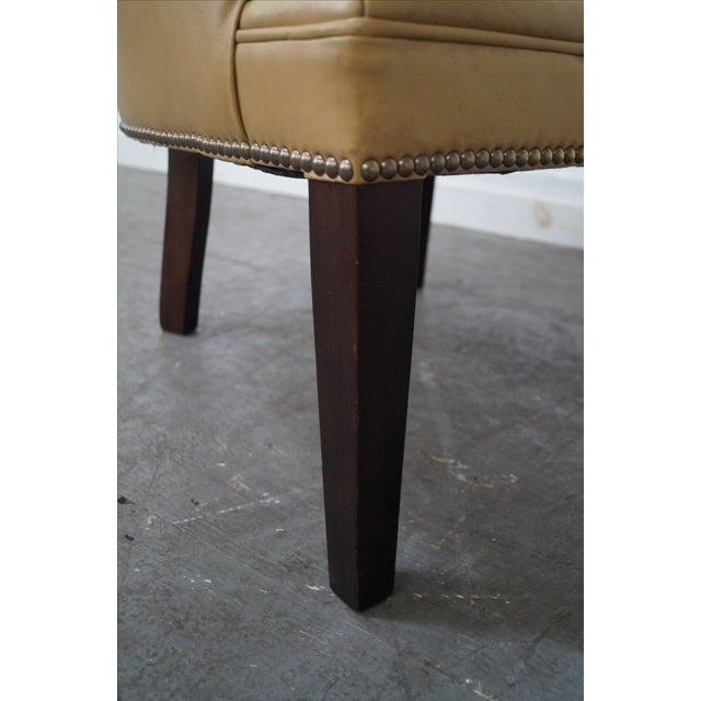Quality Leather Barrel Back Arm Chairs - Pair - Image 10 of 10