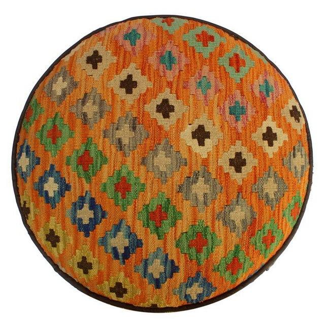 2010s Arshs Crissy Orange/Blue Kilim Upholstered Handmade Ottoman For Sale - Image 5 of 8