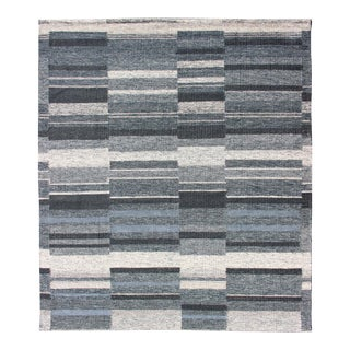 Modern Scandinavian Flat-Weave Rug With Striped Panel Design in Gray, Steel Blue For Sale