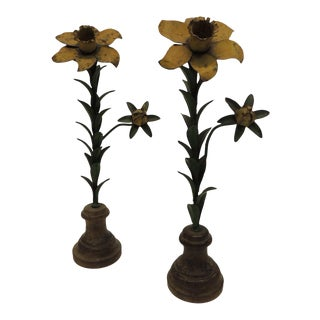 Vintage Tole Flowers on Wood Round Stands - A Pair