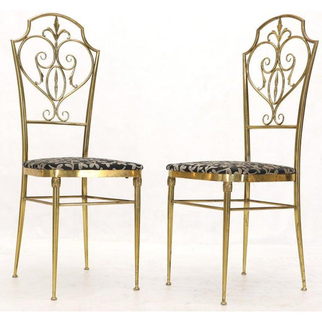 Set of 4 Italian Mid-Century Modern Chiavari Brass Chairs For Sale - Image 10 of 12