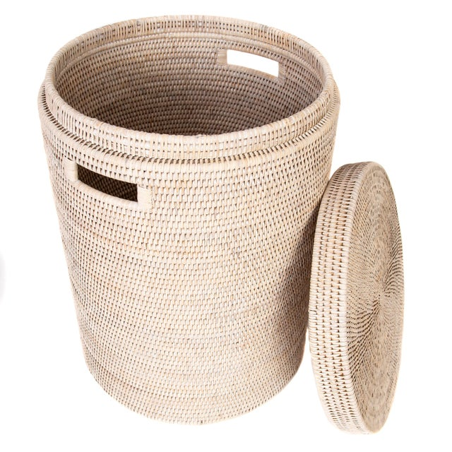 Boho Chic Artifacts Rattan Round Hamper with Cotton Liner For Sale - Image 3 of 7