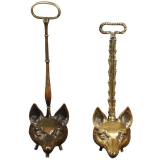 Two Tall English Brass Fox Head Door Stops from the Turn of the Century