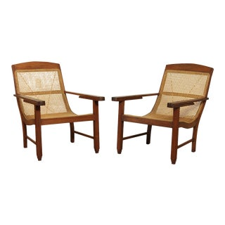 British Colonial Anglo Indian Caned Hardwood Pair Armchairs For Sale