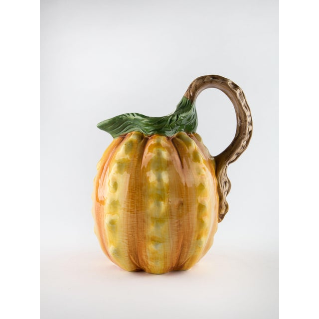 Hollywood Regency Vintage Hand Painted Italian Pineapple Pitcher For Sale - Image 3 of 11