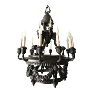 Antique Bronze 14-Light Chandelier With Putti For Sale