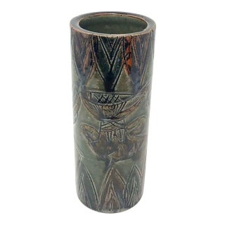 Omc Otagiri Cylinder Pottery Vase For Sale