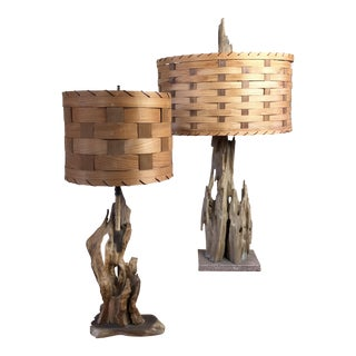 Mid Century Driftwood Table Lamps With Woven Wood Shades - Set of 2 For Sale