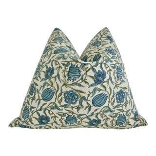 Art Nouveau Organic Hand-Block Cotton & Linen Pillow For Sale