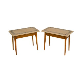 Studio Crafted Pair of Walnut Side Tables W/ Inlaid Pietra Dura Marble Top For Sale