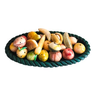 Assortment of Carved Onyx Fruit & Bowl - Set of 23