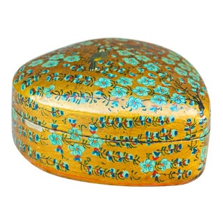 Kashmiri Peacock Heart Box For Sale