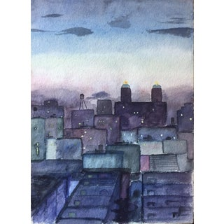 1950s New York Skyline Painting For Sale