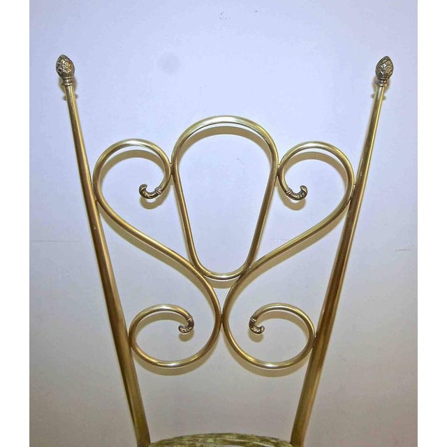 1950s Italian all Back Brass Chiavari Side Chairs - a Pair For Sale - Image 9 of 11
